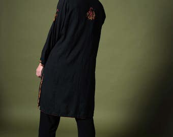 Vintage dress Vintage 70s caftan Black caftan Embroidered dress Ethnic tunic Boho dress Hippie style Bohemian caftan Caftan Kaftan