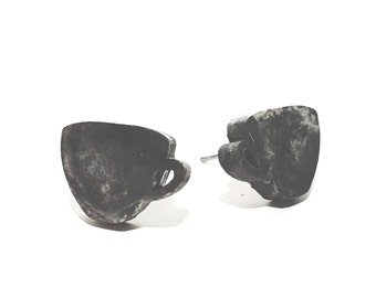 Marbled Concrete Coffee Tea Cup Earring