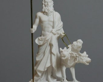 Hades Pluto Greek God of Underworld & Cerberus Alabaster Statue Figurine 5.1in - 13cm **Free Shipping - Free Tracking Number**