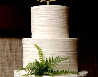 Gold Cake Topper - Custom Names Personalized Wood Cake Topper - Wedding Cake Topper