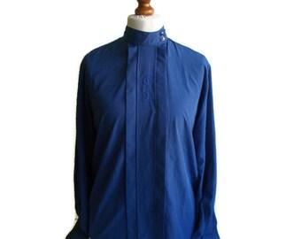 Vintage Blouse, Vintage Clothing, High neck Blouse, Blouse, Womens Shirts, Women Blouse, Vintage Blue Blouse, Button Blouse
