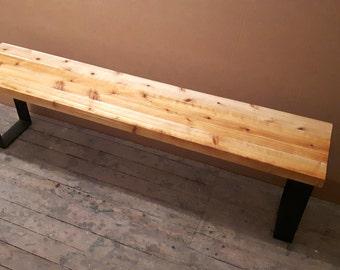 Dining Room Bench - Outdoor Cedar Bench - Steel Legs