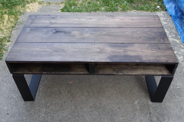 Rustic Coffee Table Pallet Style Steel Legs