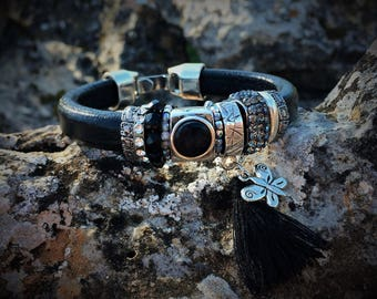 Boho chic leather bracelet, with pearls, crystals, and tassel in black and silver