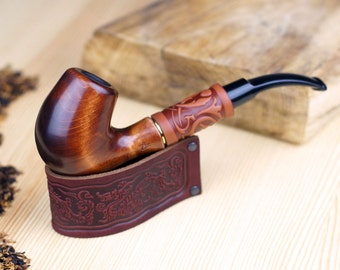 Leather Pipe Stand  + Smoking Pipe Handcrafted in Leather -Gift Set - Wood carved smoking pipe -Tobacco Pipes - Wooden Pipe - Wooden Pipes