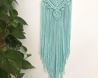 Macrame Wall Hanging - Wall hanging - turquoise blue macrame wall hanging - Bohemian decor