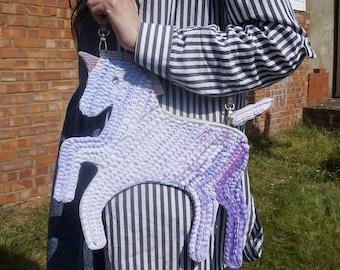 PURPLE toned Kawaii Unicorn Clutch / Shoulder Bag