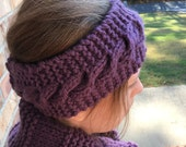 Cabled Knit Headband, Solid Color, Shown in Purple, Adult + Child Sizes