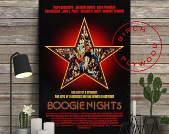 BOOGIE NIGHTS - Poster on Wood, Mark Wahlberg, Julianne Moore, Burt Reynolds, Paul Thomas Anderson, Print on Wood, Unique Gift, Wood Print