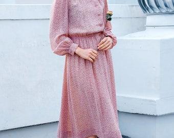 Romantic pink peony dress / Japanese vintage dress / Pink spring dress / Retro pink dress / Romantic dress / Mandarin / Feminine / Size S