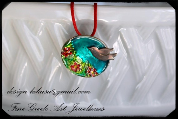 Necklace Enamel Dove Silver 925 White Gold-plated Jewelry Lakasa e-shop best gifts ideas for her birthday anniversary woman mother day love