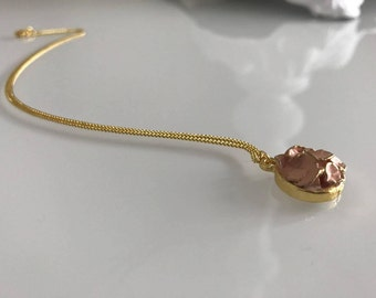 pale pink necklace, pink flower necklace, gold plated pink necklace, tiny flower necklace, minimalist pink jewelry, gift for wife