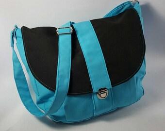 The Newport Aqua Messenger Bag, Canvas Shoulder Bag, Cross Body Bag, Canvas Handbag, Canvas Travel Bag, Canvas Diaper Bag,  Knitting Bag