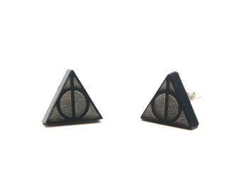 Harry Potter earrings, harry potter jewelry, deathly hallows earrings, deathly hallows stud earrings, black hallows earrings