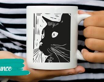 Unique Cat Mug, Cat Coffee Mug Black Cat Mug Cat Mug Cute Cat Mug Cat Lady Mug