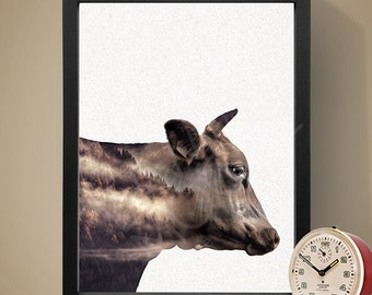 Cow Double Exposure Poster, Wall Art, Home Decor