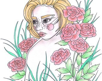 Rose Girl Illustration Print
