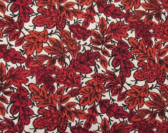 Red Rouge, by Fabric Freedom #F633, Red and orange leaves on white background, Quilt Fabric 100% Cotton