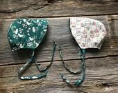 Organic Baby Bonnet, Reversible Bonnet, Summer Bonnet, Spring Bonnet, Baby Bonnet, Reversible Baby Hat, Floral Bonnet, Organic Bonnet
