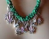Weed Leaf Malachite Charm Necklace