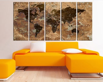 Push pin world map wall art canvas, travel map, extra large wall art canvas print, Rustic push pin world map wall with countries No:6S72