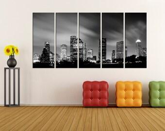 Houston skyline wall art canvas print, canvas art, Extra Large wall art Print, Houston city skyline canvas wall art no:1s84