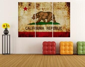 california republic flag wall art canvas Print, wrapped canvas wall art print, extra large canvas art, california flag wall art 8s77