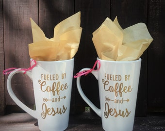 """16oz Coffee/Latte Mug - """"Fueled by Coffee and Jesus"""" - Perfect for Mothers Day"""