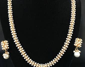 Indian Jewelry Set - Moti Pearl Jewelry - Bollywood Jewelry - Indian Bridal Jewelry - Kundan Jewelry - Indian Earrings - Temple Jewelry -