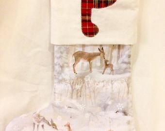 Personalised Christmas stocking, grey animal stocking, red Christmas stocking, festive decorations, Christmas decor, hanging gift stocking