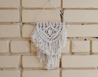 Small boho wall hanging, wall tapestry, macrame wall hanging, small wall art, natural cotton rope decor, ready to ship