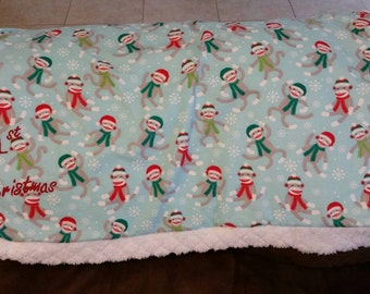 First Christmas Sock Monkey Cotton Baby Blanket