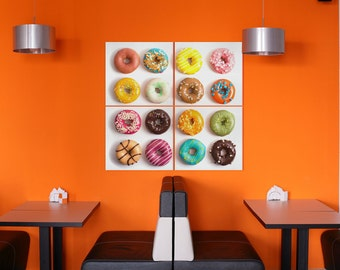 Colorful Donuts Leather Print/Multi Piece Print/Extra Large Print/Better than Canvas!