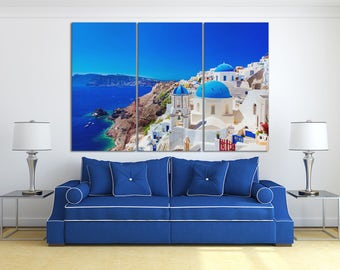 3 Panel Oia town on Santorini island, Greece Leather Print/Extra Large Print/Multi Panel Print/Greece Island Print/Better than Canvas!