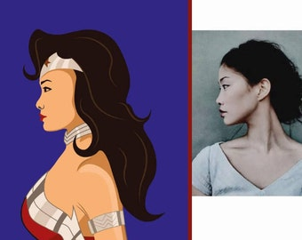 Custom Wonder Woman (Face profile) Portrait from your Photo