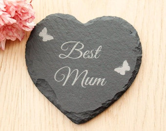 Best Mum Heart Slate Coaster, Mother's Day Gift, Mum Slate Coaster, Gift for Mum, Mother's Day Gift Idea, Slate Coaster