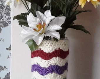 Crochet vase cover, cream with wavy stripes, slip over glass or jar! Perfect gift, present, Christmas