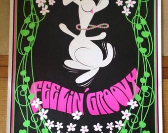 Vintage Black Light 1969 Poster Feelin Groovy Dancing Snoopy 23x35
