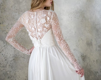 amazing wedding dress, simple wedding dress, long sleeve, two piece, wedding dress, chiffon, corset wedding dress, lace wedding dress