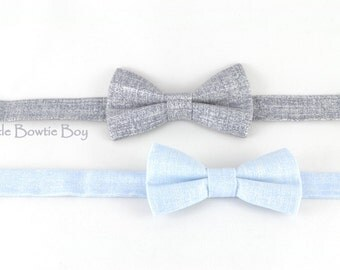 gray or light blue boy bow tie with silver pearl texture, toddler bowties, adjustable pretied kids bowtie, metal hook adjustable bowt