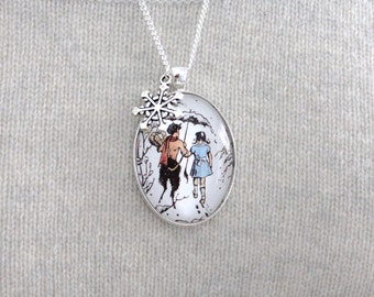 Chronicles of Narnia, 'Lucy and Mr Tumnus in Narnia' Narnia Book Page Necklace.