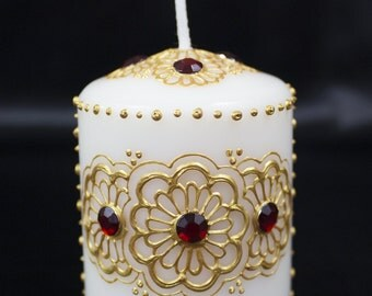 Henna Candle - Gold and Red - Henna Inspired Design