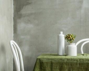 """Green linen muslin tablecloth 59x59"""". Soft moss green handmade linen tablecloth."""