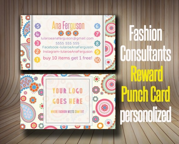 paisley punch card business card loyalty card reward. Black Bedroom Furniture Sets. Home Design Ideas