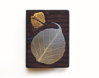 Mixed media leaf art on small reclaimed wood block, abstract in dark red with silver and gold leaf, boho decor