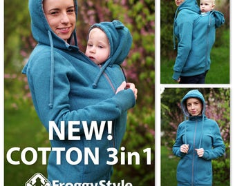 Best 3in1 Babywearing coat, baby wearing jacket, baby carrier cover, cotton, Front/Back kangaroo hoodie, S-2XL, petrol, plus size, maternity