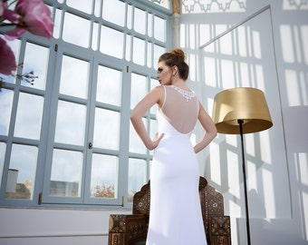 Classic bateau wedding dress by Arava Polak with pearled tulle top, collar wedding gown, Bridal gown, Bridal Dress, pearled wedding gown