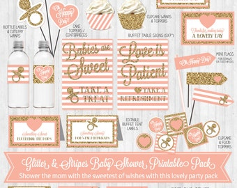 INSTANT DOWNLOAD: Blush Pink & Glitter Baby Shower Party Pack, Printable Decor, Banner, Toppers, Signs...