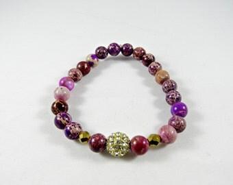 Purple Beaded Bracelet with Rhinestone Accent