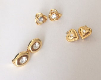3 Pairs of Vintage 1950's Gold Tone Rhinestone Clip On Earrings Simple Heart Oval Triquetra